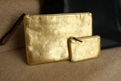 AU55 • Buy Oroton Escape Two Leather Gold Pouches Size Medium And Small BNWT