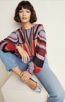 $ CDN129.18 • Buy Anthropologie Bl^nk London Miranda Peasant Blouse Striped Eclectic LARGE Red