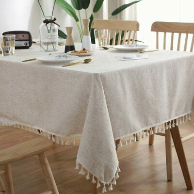 AU35.99 • Buy Home Decorative Solid Pattern Linen Lace Dining Table Cover Table Cloth