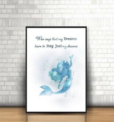 The Little Mermaid  Disney Inspired ,watercolour  Art Picture Print  Ariel  A4 • 5.99£