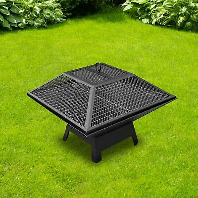 £29.99 • Buy Large Fire Pit BBQ Firepit Brazier Garden Table Stove Patio Heater Grill Poker