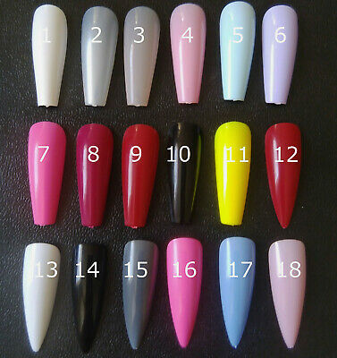 Full Cover False Nails Coffin Stiletto Extra Long Pink Red Press On Colour Set  • 4.99£