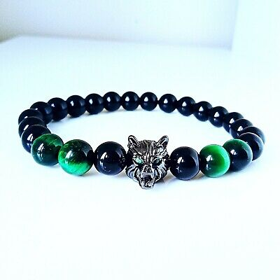 UK Natural Gemstone Black Obsidian Tigers Eye With Wolf Men Beaded Bracelets  • 6.50£