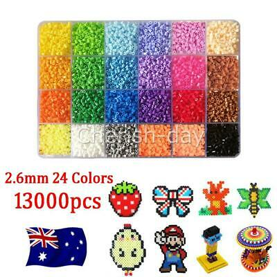 AU22.85 • Buy 13000x For Hama Beads Kit Kids Fun DIY Craft 2.6mm 24 Colours Set Gift Toys