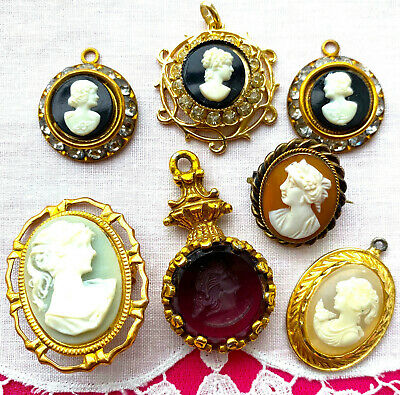 $ CDN26.35 • Buy Excellent LOT 7 Vintage CAMEOS Rhinestone Carved Shell Glass PINS PENDANTS Vntge