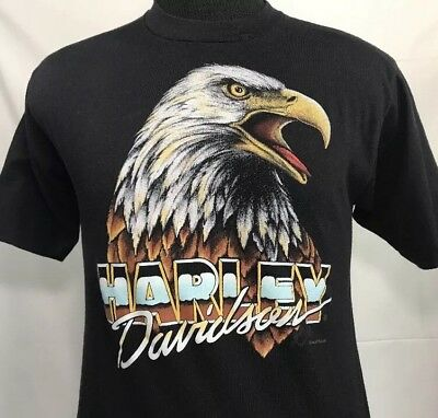 $ CDN241.29 • Buy Vintage Harley Davidson T Shirt 3D Emblem Biker Trucker German Military 80s