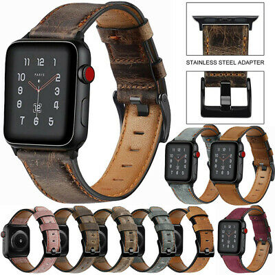 $ CDN11.27 • Buy For Apple Watch Series 6/5/4/3/2/1/SE Genuine Leather Strap Wrist Band 38mm 44mm