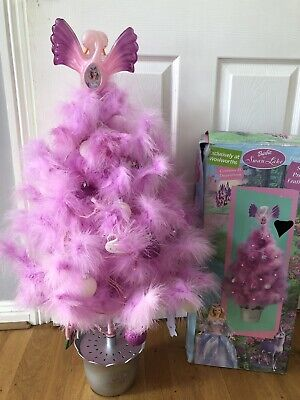 Rare Boxed Mattel Swan Lake Barbie Doll Light Up Pink Feather Christmas Tree • 100£