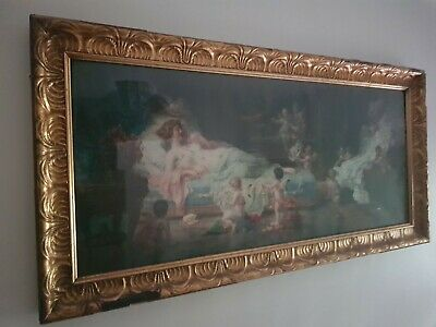 Large Striking Rococo Baroque Vintage Ornate Gold Gilt Picture Print In Frame • 40£
