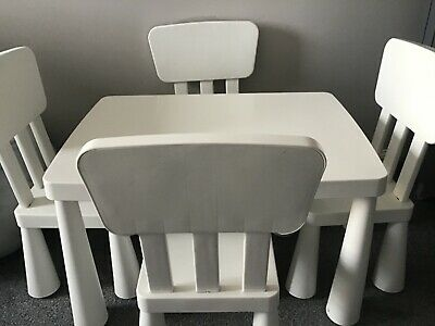 Ikea White Child's Table Chair Set • 55£