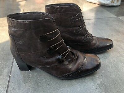 Pavers Brown Leather Vintage Boots Button/Loop Fasten Size 5 • 8.50£