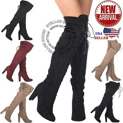 £20.25 • Buy NEW Women's Thigh High Stretch Boot Sexy High Heel Over The Knee Pull On Boots