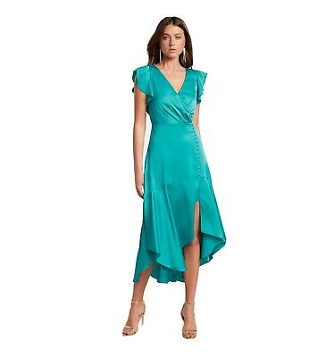 AU55 • Buy Forever New Carina Satin Flutter Sleeve Party Dress Size 6 Blue