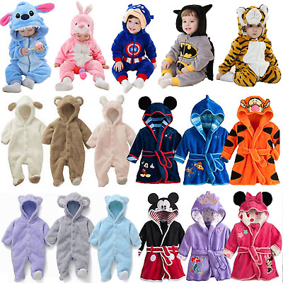 Toddler Baby Kids Cosplay Pajamas Hooded Boys Romper Bathrobe Sleepwear Outfits • 9.69£