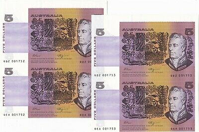 AU36.01 • Buy $5 Fraser/Higgins Two Consecutive Serial Number Uncut Pairs Low Numbers Unc