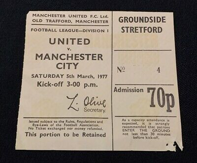 Manchester United V Manchester City 5th March 1977 Division One Ticket Stub • 3£