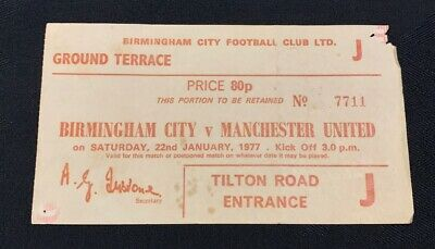 Birmingham City V Manchester United 22nd January 1977 Division One Ticket Stub • 3£