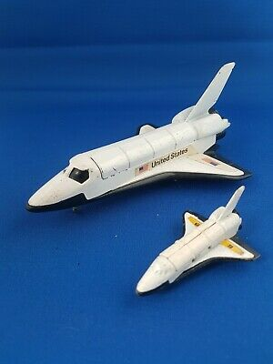 Retro 1980s Diecast Corgi Space Shuttle With Satellite & Miniature Space Shuttle • 2£