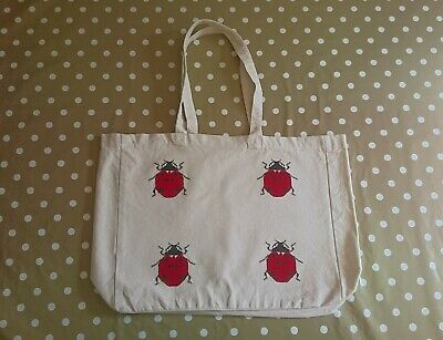 Ladybird Canvas Tote Bag. 43cm X 38cm. Hand Decorated. • 10£