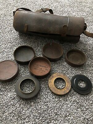 Very Old Leather Lens Case/holder For Plate Cameras • 20£