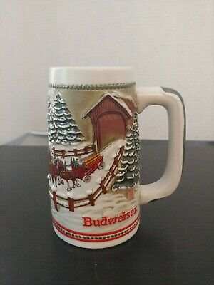 $ CDN20.68 • Buy 1984 Budweiser Holiday Christmas Beer Stein Clydesdale Covered Bridge Mug