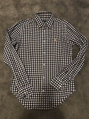 Ralph Lauren Gingham Blue And White Shirt Size 6 • 5£