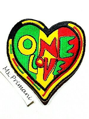 One Love Embroidered Patch MULTI Rasta Reggae Jamaica Heart Iron Sew On Badge • 1.85£