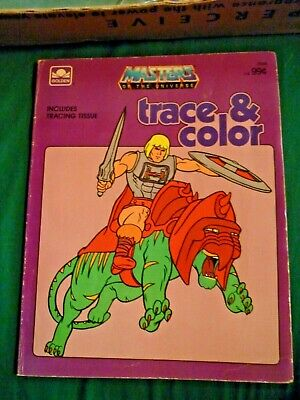 $14.99 • Buy 1985 MOTU Trace & Color GOLDEN BOOK Masters Of The Universe HE-MAN RARE