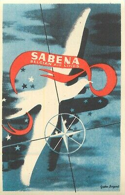 SABENA AIRLINES - Artistic COMPASS Luggage Label, C. 1955  MINT CONDITION • 8.44£