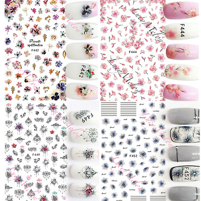 AU4.90 • Buy Nail Art Stickers Luxury 3D Manicure Decals Butterfly Flower Sexy Nail Accessory