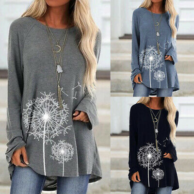 Womens Floral Long Sleeve Baggy Tunic Tops Ladies Casual Loose Jumper Pullover • 13.40£