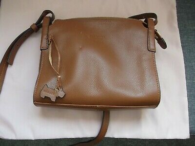 Radley Tan Cross Body Bag. Leather With Dog Charm. Cost £135. Has Slight Marks. • 5£
