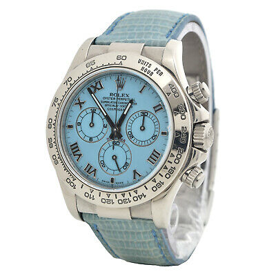 $ CDN66316.31 • Buy Rolex BOX & PAPERS Daytona Beach 116519 In White Gold With Blue Dial On Strap