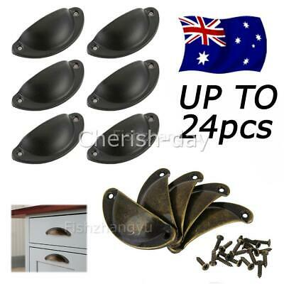 AU17.50 • Buy TO 24X Cupboard Cabinet Cup Drawer Furniture Antique Shell Pull Handles + Screws