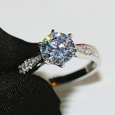 £119 • Buy 2.20 TCW Round Cut Moissanite Diamond Engagement Ring In 14K White Gold Plated