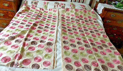 Pink, Brown & Green, Circular, Embroidered, Tab Top, Lined Curtains. 54 W X 55 L • 29.99£