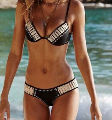 $ CDN95.52 • Buy NWOT Victoria Secret Black Crochet Stitched Fabulous 34C M Swimsuit Bikini
