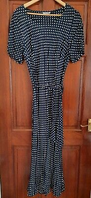 Marks And Spencer Navy Blue And White Polka Dot Dress Size 18 • 12.50£