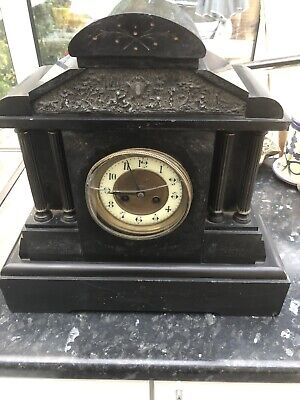 Jules Rolez Of Paris 19th C Solid Marble / Black Slate Mantel Clock • 110£