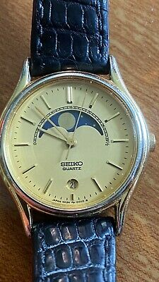 $ CDN175 • Buy Vintage SEIKO Real MoonPhase Quartz Women's Watch Gold Plated W/date