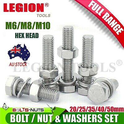 AU13.50 • Buy Hex Bolts Nuts Washers Set Kit Assortment M6 M8 M10 Hex Head With Storage BOX