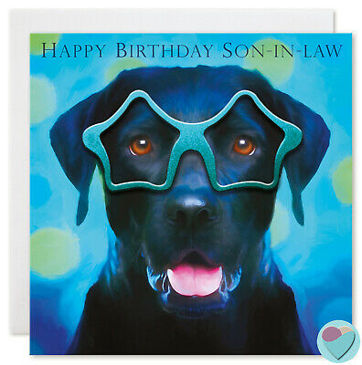 Son In Law Birthday Card HAPPY BIRTHDAY SON-IN-LAW To Or From Labrador Dog Lover • 3£