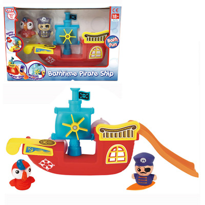 Bath Pirate Ship Boat Toy For Toddlers Kids With 2 Figures And Slide Water Wheel • 11.99£