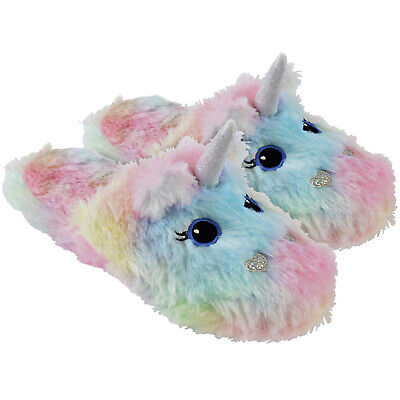 AU13.99 • Buy Ladies Rainbow Unicorn Slip On Slippers With Soft Faux Fur Lining