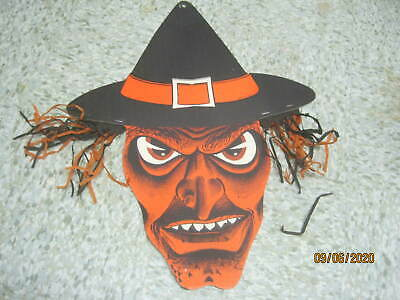 $ CDN46.91 • Buy Vintage USA Die Cut Halloween Large Witch With Hat Mad Face