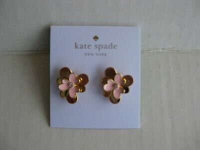 $ CDN26.28 • Buy KATE SPADE 12K Pink Gold Plated Blush Pansy Blossom Stud Earrings - Dust Bag NWT
