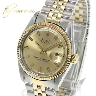 $ CDN7676.57 • Buy Rolex Mens Datejust  Two-tone 1601 Champagne  Dial Fluted Bezel 36mm Watch