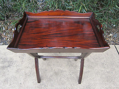AU240 • Buy Antique 19th Century Mahogany Butlers Table Tray & Stand Campaign Table