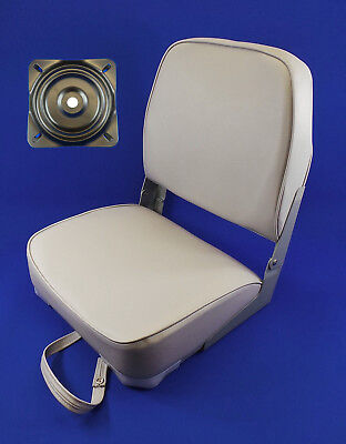 Quality Folding Grey Boat Helm Seat With Swivel Plate - Yacht Speed Boat TU2 • 44.99£
