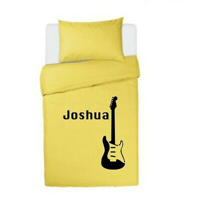 MUSIC LOVERS GUITAR Personalised YELLOW Bedding Duvet Cover Single Or Double • 32.99£